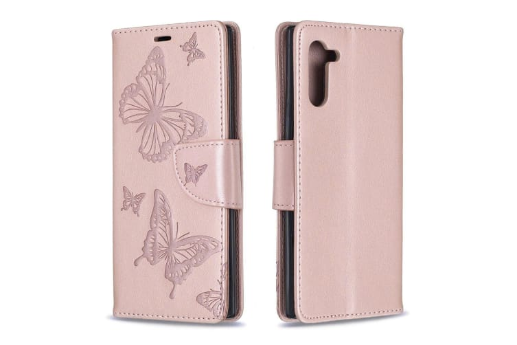 For Samsung Galaxy Note 10 Case Rose Gold Butterfly Embossed PU Leather Cover