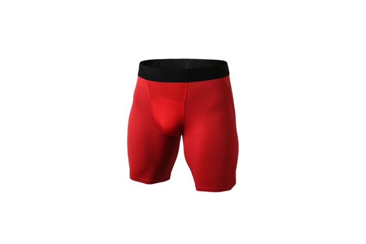 Men'S Compression Shorts Baselayer Cool Dry Sports Tights - Red Red M