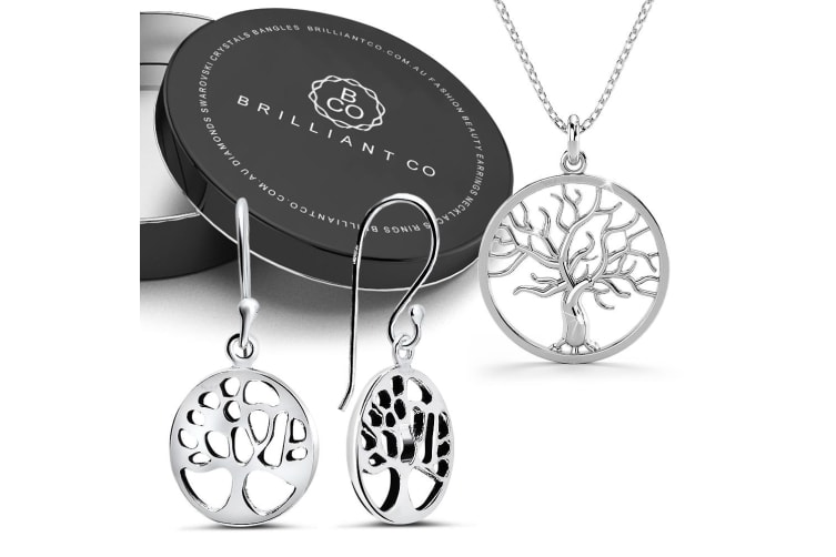Boxed .925 Tree of Life Necklace and Earrings Set