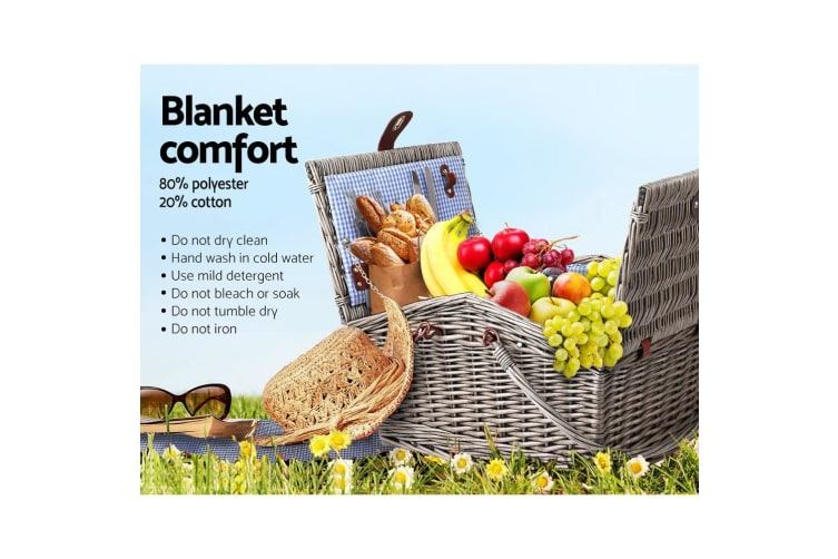 Deluxe 4 Person Picnic Basket Baskets Outdoor Insulated Blanket