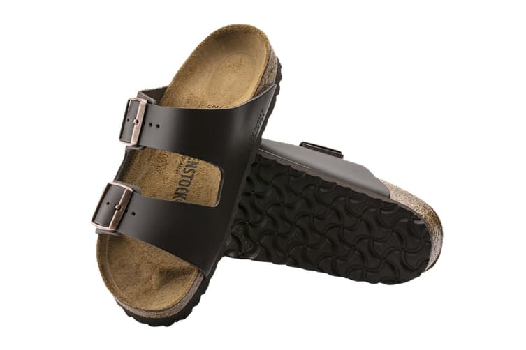 Birkenstock Arizona Natural Leather Sandal (Dark Brown, Size 43 EU)