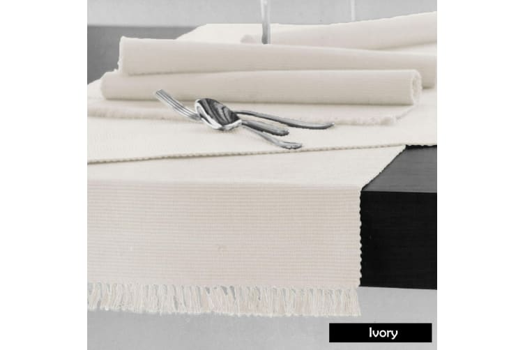 Cotton Ribbed Table Runner 45cm x 200cm - IVORY