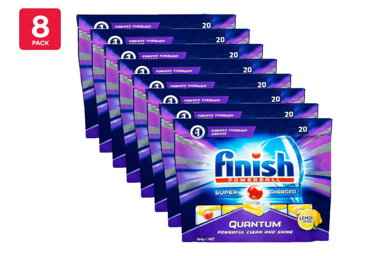 160 Finish Quantum Powerball Dishwashing Tablets - Lemon Sparkle (8 x 20 Pack)