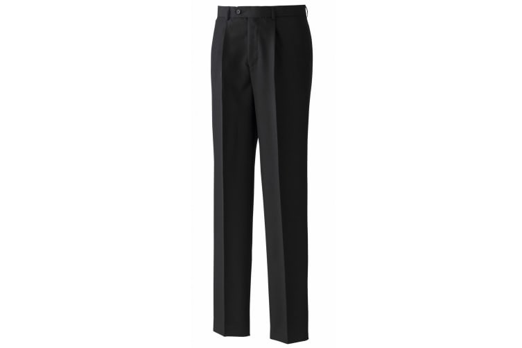 Premier Mens Polyester Trousers (Single Pleat) / Workwear (Black) (30 x Long)