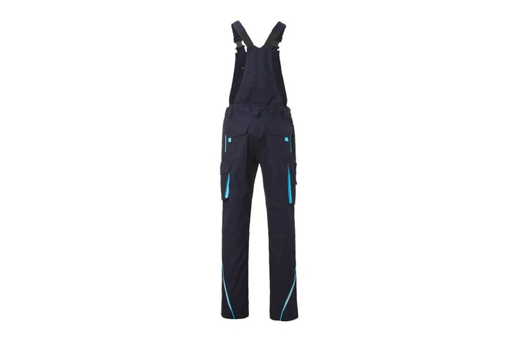 James and Nicholson Unisex Workwear Pants with Bib Level 2 (Navy/Turquoise) (38L)
