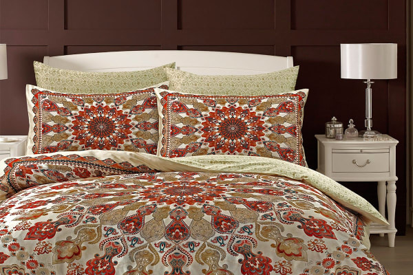 Style & Co 100 % Cotton Reversible Quilt Cover Set (Double, Medallion)