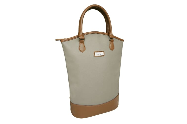 Sachi Two Bottle Wine Tote Bag - Taupe