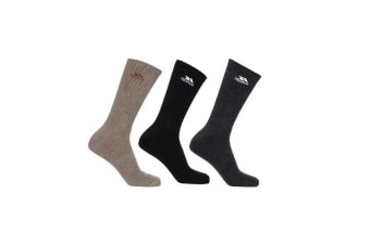 Trespass Mens Torren Cushioned Socks (Pack Of 3) (Carbon Melange/Black/Mocha Melange)