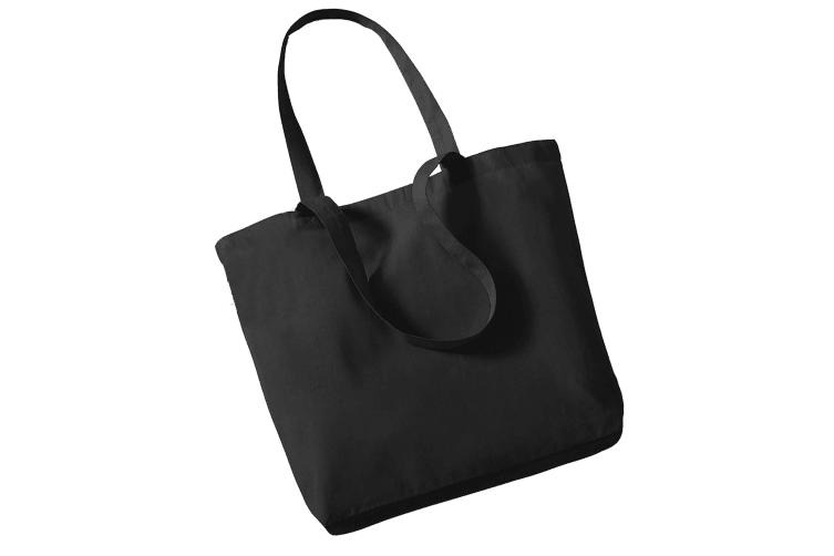 Westford Mill Organic Cotton Shopper Bag - 16 Litres (Pack of 2) (Black) (One Size)