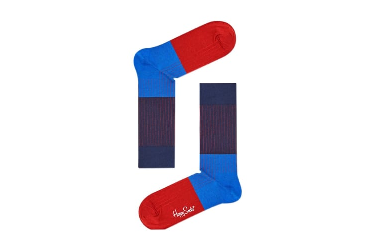 Happy Socks Block Rib Sock (Blue/Red, Size 41-46)