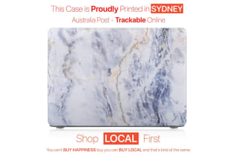 "Hard Case Cover for Apple Macbook Pro 13"" Inch  A1708-Matte Clear-Marble Blue"