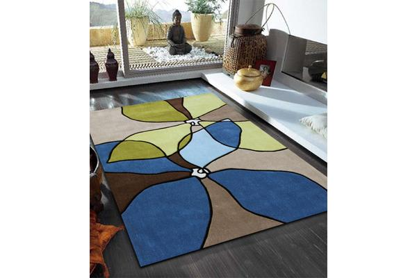 Organic Flower Design Rug Blue Green 225x155cm