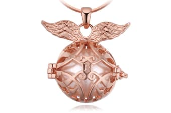 Protection Wing Pendant With Necklace w/Swarovski Crystals-Rose Gold/Pearl