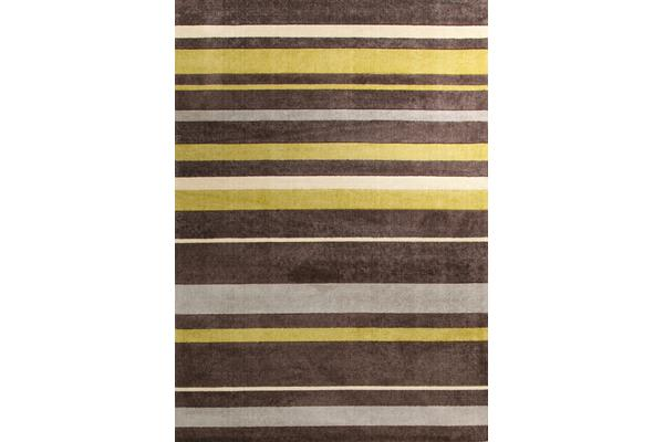 Stylish Stripe Rug Brown Green 160x110cm