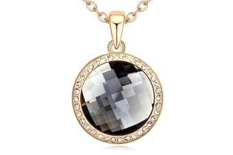 Gorgeous Round Shadow Pendant Necklace w/Swarovski Crystals-Gold/Black