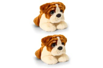 2PK Keel 37cm Cuddle Pup Bulldog Kids/Children 3y+ Plush/Animal Toy Large Size