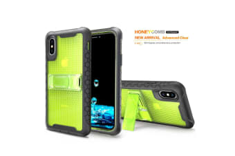 Yellow Honeycomb For iPhone XS X Case Armour Phone Cover KickStand
