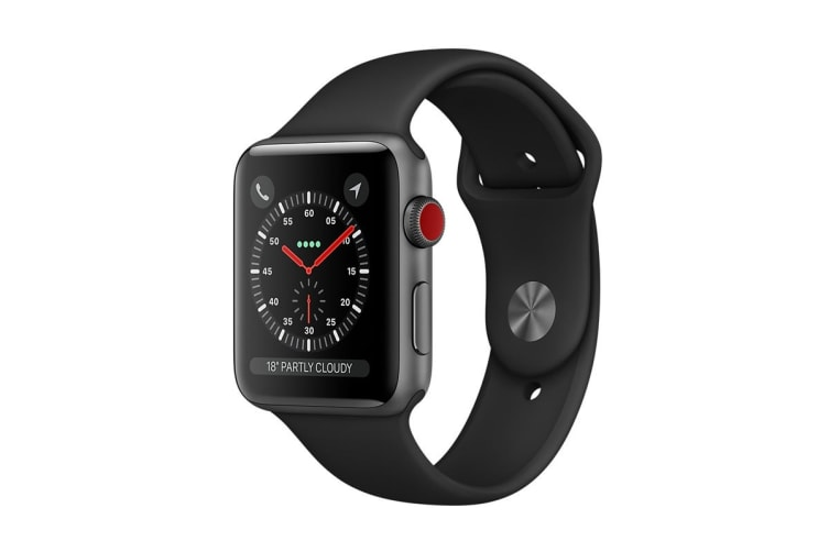 Apple Watch Series 3 (38mm, Space Grey, Black Sport Band, GPS + Cellular) - AU Model