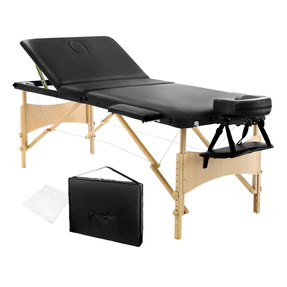 Portable Wooden 3 Fold Massage Table Chair Bed (Black) 70 cm