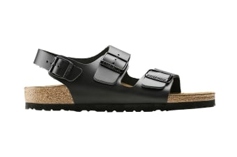 Birkenstock Unisex Milano Smooth Leather Sandal (Black, Size 41 EU)