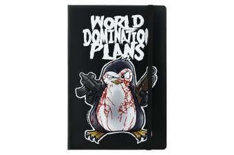 Psycho Penguin World Domination Plans A5 Hard Cover Notebook (Black) (One Size)