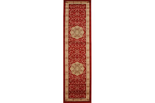 Medallion Classic Pattern Runner Red 300x80cm