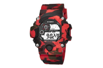 Fashion Electronic Watch Camouflage Sports Waterproof Student Watch Red