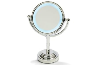 "5"" Led Backlit Make Up Mirror Double Side 1X / 5X Magnification Battery Silver"