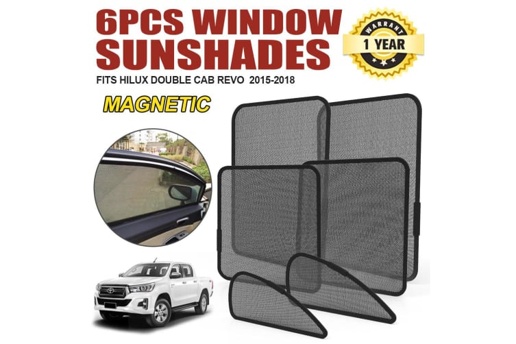 BUNKER-INDUST Fit TOYOTA HILUX Double Cab 2015-ON Magnetic Rear Car Window Sun Blind Sun Shade
