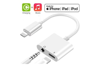 Select Mall Headphone Adapter for iPhone Adaptor 3.5mm Jack Dongle Earphone Connector Music Accessories Charger-White