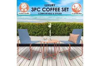 Milano Outdoor Steel/Rattan 3 Piece Blue/Orange Coffee Set