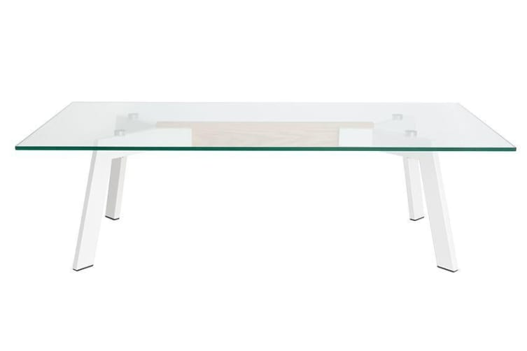 Vox Collection | Glass Coffee Table | White & Natural
