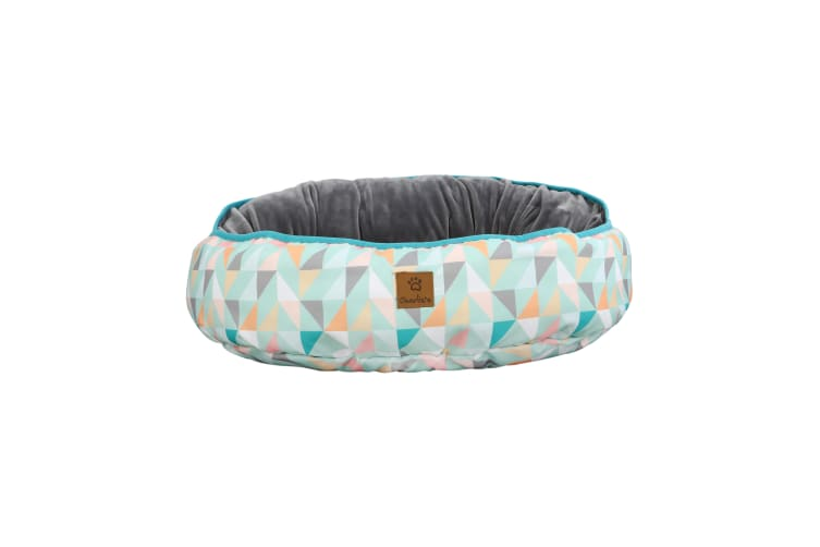 Charlie's Pet Reversible Oval Pad Bed - Green Triangle L-75 x 80 x 15cm