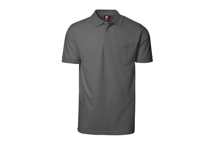 ID Mens Pro Wear Short Sleeved Polo Shirt With Pocket (Silver Grey) (4XL)