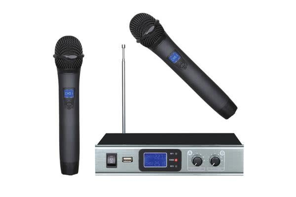 Wireless Microphone Vhf Dual Channel Twin Mic Case Tc-Hh28A