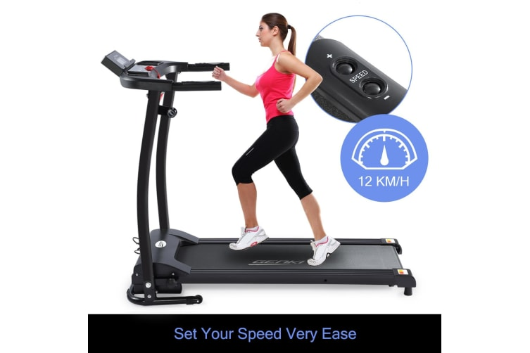 Genki Folding Treadmill Fitness Exercise Machine with Pulse Sensor