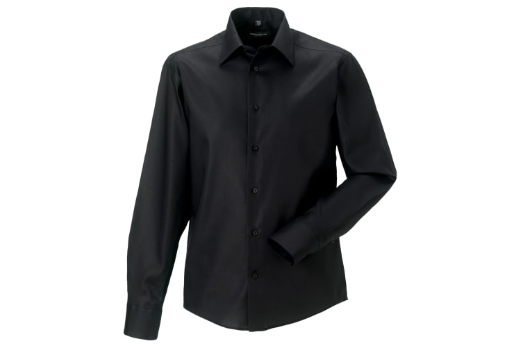 Russell Collection Mens Long Sleeve Tailored Ultimate Non-Iron Shirt (Black) (14.5inch)