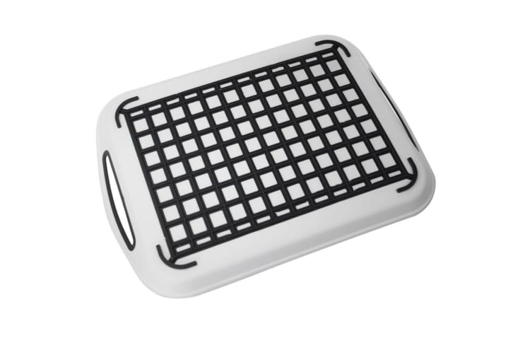 2 x White Rectangular Non Slip Plastic Serving Tray Food Tray Rubber Surface Party 41x29cm