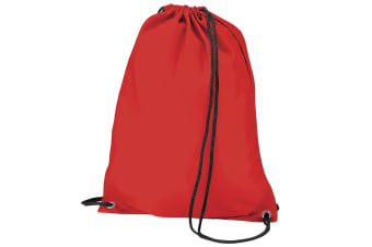 BagBase Budget Water Resistant Sports Gymsac Drawstring Bag (11 Litres) (Pack of 2) (Red) (One Size)