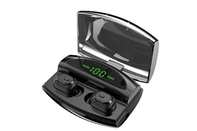 Select Mall Bluetooth 5.0 Earphones In-ear LED Digital Display Bluetooth Headsets with Charging Compartment-Black