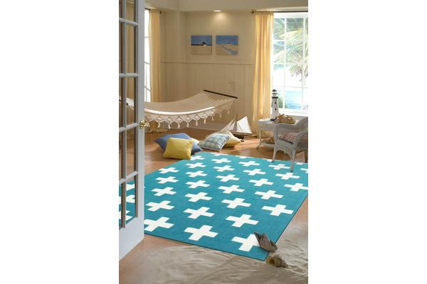 Nordic Crosses Rug Blue 165x115cm