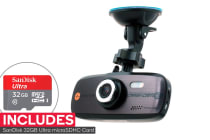 "Laser Navig8r Car Crash Camera FHD1080P 2.7"" LCD 30FPS Wide Angle (140 Degrees) + SanDisk 32GB Ultra microSDHC Card"