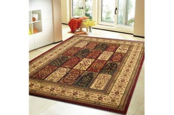 Traditional Panel Pattern Rug Burgundy
