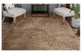 Luxury Soft Plush Thick Rectangle Shaggy Floor Rug TAUPE 160x225cm