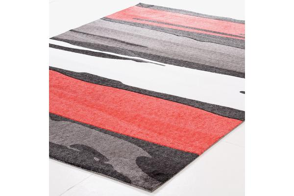 Brush Strokes Rug Black Red 280x190cm