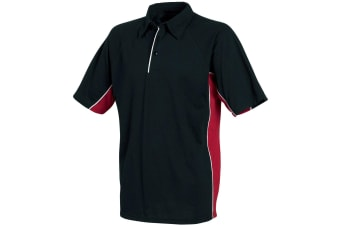 Tombo Teamsport Mens Pique Sports Polo Shirt (Black/Red/White Piping)