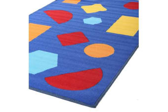 Kids Non Slip Shapes Rug Blue 150x100cm