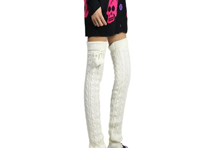 Comfy Knitted Leg Warmers White