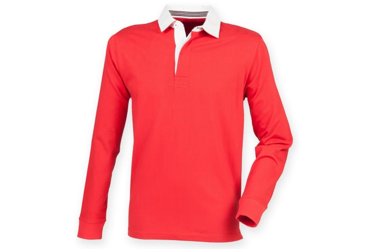 Front Row Mens Premium Long Sleeve Rugby Shirt/Top (Red) (XL)