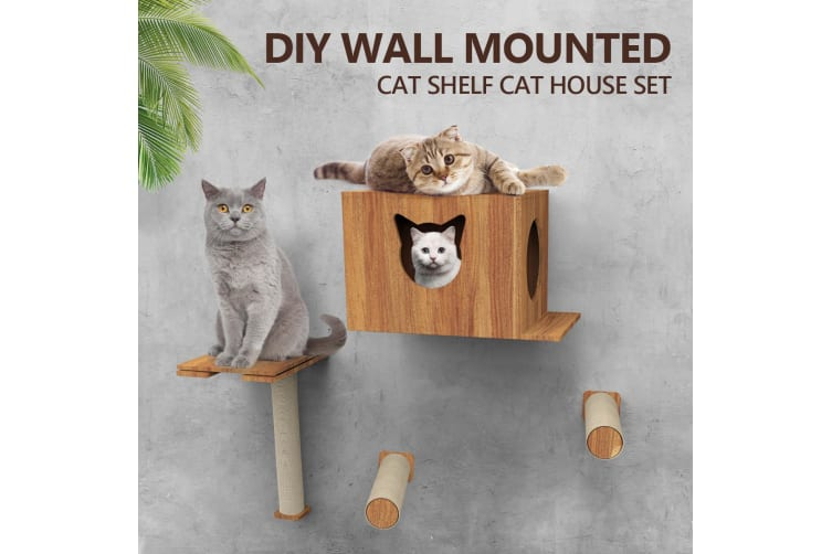 Deluxe Wall Mounted Cat Tree Cat Perch House Shelf Sisal Scratching Posts Set
